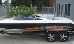 Specifications : -Upgraded Easytow trailer (with many extras) -Trailer painted or galvanized -Galvanized Axles, springs -Mag. wheels -Centre ski pole-Full graphics on boat -Training bar-PCM from 315hp. marine engines -Foot or hand throttle -Blower