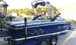 Priced thousands below NADA. Excellent Condition, original owner, always garage kept. Only 148 hours. Navigation/GPS, upgraded stereo system with AM/FM/USB, transom remote, 3 amps, 10 speakers and 12'' subwoofer. Collapsible wake board tower with
