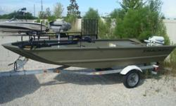"""This is the """"S"""" model which has the shorter transom for short shaft engines.2010 Grizzly 1448.2000 Johnson 15hp two-stroke short shaft engine. (Low Hours).2006 Shorelander galvanized trailer.2010 Minn-Kota Edge 45 hand control trolling motor. New battery"""