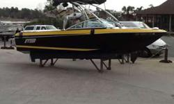 2011 MB B52 V23 Wakeboard boat w/ PCM ZR409 & Boatmate tandem axle trailer. Boat has only 379 hours and has just about every option imaginable. Options include: Black and yellow gel coat, electric engine hatch, ballast system, MB Zero Off GPS cruise