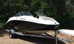 Sea Doo 180 Challenger with 255 hp Supercharged-Intercooled Engine with only 28 hours of run time. Black with white hull (includes anti-FOG coating on hull). Includes bimini top, bow cover, cockpit cover, and additional full boat cover with ratchet
