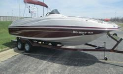 this is a 2011 Tahoe 225 deck boat built by tracker marine. it comes fully lake ready with a trailer, cover and a fresh oil change. this deck boat has the 5.0 V8 mercruiser MPI engine that puts out 260hp. the interior of this boat is in great shape with