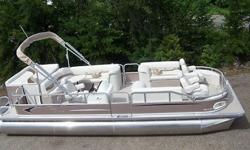 This is a new 2011 8 ft. wide 24 ft tmlt elrc top of the line pontoon boat. It comes 8 ft. wide with 25 inch tubes. We only have one left in maroon. This pontoon boat is rated for a 150 hp motor but for this auction it doesn't come with a motor or