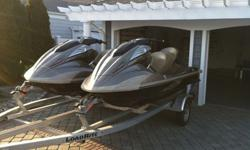 Two 2011 Yamaha Jet Skis with Double Trailer (2012) and covers. Like New Condition. Color: Bronze4 Cylinder, 4 Stroke, Supercharged, Intercooled, 1812ccElectronic Fuel InjectionModel #: FX1800A-KBVERY LOW HOURS!!! One Jet Ski= 24 hours, One Jet Ski= 27