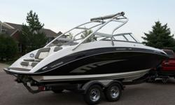 Everything you need to get started is included!Under 50 hours on each engine - Wintered in covered storage facility.YES Extended Warranty.Shorlander Trailer in Black w/LED Lights & Spare Tire.Keel Guard.Tru-Locks.Mooring Cover w/anti-pooling poles.