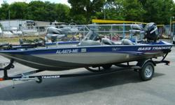Very clean 2012 Bass Tracker 175TF aluminum fishing boat with minn-kota 45lbs thrust 12volt trolling motor, graph, 2 batteries, on board charger, full instrumentation, live wells, built in gas tank, and a boat cover. Boat is sitting on a matching trailer
