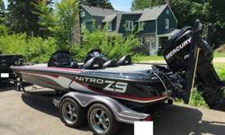 IM NOT GOING TO LIST THE STANDARD Z9 DETAILS.MY BOAT IS A 2012 NITRO Z9 WITH MERCURY 250 PRO XS.2013 TRAILER WITH 2013 RIMS AND TIRES.UPGRADES: DUAL BRAKES, DUAL CONSOLE (REMOVABLE) ATLAS JACK PLATE HYDRAULIC, POWER POLES/DUAL, FORTEX 101 LBS THRUST.