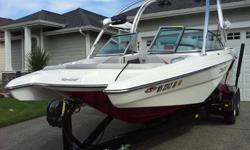Type of Boat: Power BoatYear: 2013Make: MB SportsModel: F21 TomcatLength: 21Fuel Capacity: 65Fuel Type: GasEngine Model: 359hp IndmarInboard / Outboard (Boat): Single I/OTotal Horse Power: 395Beam (Boat): 8.3Hull Material (Boat): FiberglassTrailer: dual