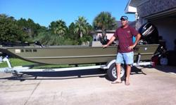 Lowe Roughneck 1650 w/ 40hp 4-stroke - Just bought this boat 7/16/2013 but don't use it enough. Have washed it every time we've had it out. Sell for 8200 FIRM - Garage kept. Side-console w/steering wheel/cup holder, Mercury F40 4-stroke w/Mercury cover