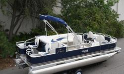 This is the highest quality pontoon boat you will find. If you like to fish, your going to love this pontoon boat. IT is rated for up to a 90 hp motor but this auction is for the pontoon boat only. The seats are made out of 50 oz vinyl which is the best