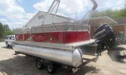 2013 Sunchaser DS 20 Pontoon. 90 Horse Evinrude Etec with less then 30 hours and factory warranty until April 2017, tandem axle Sylvan trailer with spare tire included, it has the large 25'' diameter pontoons, bimini top, changing station, built in AM/FM