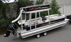 This auction doesn't come with a motor or trailer but they are available. This pontoon boat will have the high grade 28 oz carpet with the 50 oz vinyl seats and the high quality alum seat bases. It has a stereo-10 ft bimini-table-swim ladder-lights