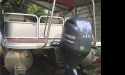Like new gently used Bennington Tritoon SCWX single owner. Yamaha 115 four stroke motor, excellent on gas! Maroon and champagne colored boat with cream interior seats, dark carpet, hardwood vinyl. Two captains chairs, two chaise lounges in back, and two