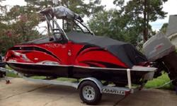Great performance registered with the Mercury 150EFI 4-stroke engine. Almost all available options and custom tandem trailer included. Mfg Warranties on both engine and boat. Special Options that are included: SEAGRASS FLOORING WITH BUILT IN SKI LOCKER,