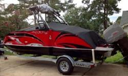 Boat comes with a 150 hp 4 stroke Suzuki Outboard motor.Options added:-Depth finder-Stainless steel wakeboardtower and premium sound system-Bimini top for wakeboard tower-Hydraulic steering-LED Underwater light blue dome-Stainless Steel propeller-Kitchen
