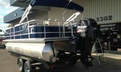 2014 Crest III Pontoon Fish and Ski package Mercury 115 ELPT EFI As low as $297 a month o.a.c. Bimini Top Snap on cover Stainless steal Cleats Glove Box Ski Tow Bar Stainless Steel Poly vinyl flooring Audio Receiver w/bluetooth - 4 SPEAKERS Woodgrain oval