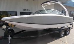 Most popular model!! Wider Bow area walk thru transom Stereo w/remote Wakeboard Tower Bow Filler cushion Docking Lights Bow and cockpit cover Bow scuff plate Dual Props Beautiful boat Lots of options Exhilaration begins here, aboard this 22-foot stunner.