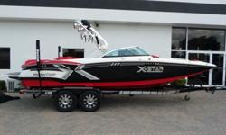 This is as close to new as you will find without the new price. The boat hasthe Very Powerful 6.2 liter 420 HP engine, Under tower boat cover, Bimini top, Masterview mirror, Tower speakers, Cockpit speaker ring lights, Tower speaker ring lights, Plug and