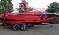 This 2014 Nautique G23 red beauty is gorgeous inside and out. Throws the best wakeboard and wakesurf waves in the industry. Red and black color combo this boat has heads turning. Loaded with the PCM XR550 engine, 4 Roswell tower speakers, NSS-Nautique