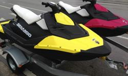 I'll respond ONLY through phone so please leave me your number.Thanks! TWO (2) LIKE-NEW 2014 Sea-Doo Sparks WITH Galvanized Steel Double Trailer Included!! Each Spark has 52 Hours run time. Both include a fire extinguisher & the $200 Sea-Doo Convenience