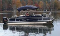 "2014 Premier CASTAWAY 231RE Tritoon 36""PTX w/ Yamaha VF225LA Options:7 * Helm Chair, 788ci GPS DF Upgrade, Boat Bimini Top - Sapphire, Boat Graphics - Pewter, Boat Panel - Sapphire, Boat Vinyl Accent - Indigo, Boat Vinyl Base - Stone, Carpet - Berber,"