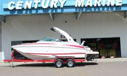 The 24 FasDeck with FasTrac hull is a top performer!! Equipped with the Volvo 5.7L 300HP Duo Prop motor Snap in Carpet StereoRegal Vue DashDual batteries Power Tower Bimini Tops Custom cover Custom tandem trailer Head Fresh water tank This boat is