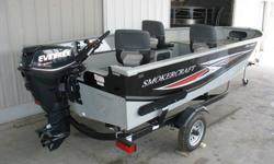 """BOAT INFO:New Show room carry over 2014 SMOKERCRAFT 16 Ft Pro Lodge 16Ft 6"""" Long, 82"""" extra wide Beam, 720 LBS dry weight, 79"""" transom width, .100 thick hull and side EXTRA HEAVY DUTY, Built in 12 Gal fuel tank, Rated for 6 People.26Gal Livewell, Full"""