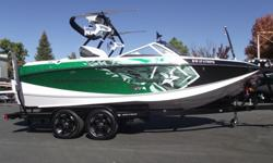 This 2014 Super Air Nautique G21 is nicely loaded for a great day/week on the water. Some of the cool features are NSS (Nautique Surf System), tower speakers, bimini, design package with vented windshield, heater, pocket air dam door, bow filler cushion,