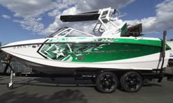 This 2014 Super Air Nautique G21 packs all of the G-Series features into a smaller package. The NSS system, it allows riders 2,850 lbs. of standard inboard ballast. This boat still looks and smells new. Boat has been kept in a garage and wiped and clean