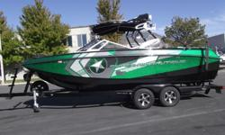 This boat has it all with the XR 550 HP engine. Loaded with many options; bimini, 4 tower speakers, LED cup holders, Speakers have lighting, drivers seat has heater, design package, underwater lights, wetsounds equalizer. Too many options to list. 281