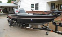 Aluminum hull and hardly used.Powered by Mercury ELPT 40 horse power engine.Features a 23 gallon live well with removable bait well.Bow rod storage compartments and port storage are lockable.Minn Kota Power Drive V2 trolling motor and enclosed storage box