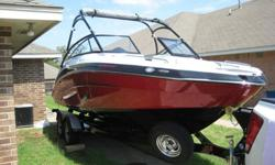 I am the original owner, it was bought new in May of 2014. The engines have 28.6 hours on them (this will change due to it being used weekly). The twin engines produce 360 HP. It has a bimini top, lots of storage, and cup holders. It has snap in carpet