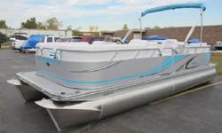"""Exterior Features 23? Diam Pontoons with Full Length Keel 8?x 9? Bimini Top with Storage Boot Robust Aluminum Rear Entry Ladder LED Running Lights Stainless Steel """"Fold-Down"""" Mooring Cleats Composite Rail Spacers Contoured Anodized Rub Rail and Polished"""