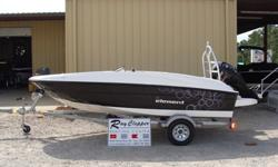 "2015 Bayliner Element BlackSpecificationsLOA 16'2"" Beam 7'5"" Approximate weight w/standard engine 1,570 lbs Passenger capacity 6 Fuel capacity 12 gal Base Price 12,999Freight: 1,818Engine:* 60 HP Mercury 4-Stroke EFI Command Thrust $214Options:* Desert"
