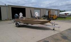 Included with this package are trolling motor, switch panel, tachometer, side console w/built in aerated live well, port side gun/rod box, non-skid superliner finish, bench driver and passenger seat, 2 fishing pedestals w/stands, bilge pump, battery prep,