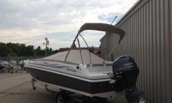 I'll respond ONLY through phone so please leave me your number.Thanks! This is a brand new boat and motor. The color is platinum and white With many options, starting with a digital depth finder, LED docking lights, ski tow bar, Sony Stereo with four