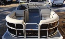 """2015 South Bay 422 CR Tritoon PP Black w/Flagstone Ray Clepper Boating Center 803-781-3885 www.rayclepper.comSpecificationsOverall Length 22' Width 8' 6"""" Max. HP 150Options:* Black Panels* Black Bimini Top* Flagstone Vinyl w/ Black Accent* Tritoon"""