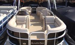"""2015 South Bay 424 RS Tritoon PP Black Ray Clepper Boating Center 803-781-3885 www.rayclepper.com SpecificationsOverall Length 23' 9"""" Width 8' 6"""" Max. HP 150Options:* Black Panels* Black Bimini Top* Mocha Vinyl w/ Black Onyx Accent* Tritoon Performance"""