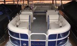 "2015 South Bay 522 CR Tritoon PP Navy SpecificationsOverall Length 23' 9"" Width 8' 6"" Max. HP 200Options:*Navy Panels* Navy Bimini Top* Flagstone Vinyl w/ Navy Accent* Tritoon Performance Package - Center Tube, Seastar Hydraulic Steering, Full Aluminum"