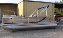 """2015 South Bay 522 RS Tritoon PP Bronze w/ Navy Stripe Ray Clepper Boating Center 803-781-3885 www.rayclepper.com SpecificationsOverall Length 23' 9"""" Width 8' 6"""" Max. HP 200Options:* Bronze Panels w/ Navy stripe* Navy Bimini Top* Mocha Vinyl w/ Navy"""