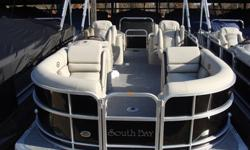 """2015 South Bay 522 SL Tritoon PP Black Ray Clepper Boating Center 803-781-3885 www.rayclepper.com SpecificationsOverall Length 23' 9"""" Width 8' 6"""" Max. HP 200Options:* Black Panels * Black Bimini Top* Flagstone Vinyl w/ Black Onyx Accent* Tritoon"""