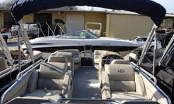 "2015 South Bay 522 SL Tritoon PP Navy SpecificationsOverall Length 23' 9"" Width 8' 6"" Max. HP 200Options:* Navy Panels * Navy Bimini Top* Flagstone Vinyl w/ Navy Accent* Tritoon Performance Package - Center Tube, Seastar Hydraulic Steering, Full Aluminum"