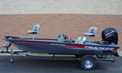 Tracker Pro Team 195 TXW powered with a 150hp Mercury four stroke outboard. Other motor options are available. Can put a smaller motor on this unit. A 115 hp has top performance at about mid 40 mph, or the 150 hp has a top speed over 60 mph TEXT @ 224 x