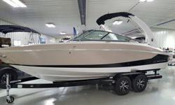 I love the looks of this sleek boat! Hard not to fall in loveDesert Sand with Black boot stripVolvo V8 300 hp DPDual Battery Switch with trayToilet Pump out fittingsSeagrass mattBow and Cockpit coverDocking lightsUnderwater LightsPower Tower whiteSeadek