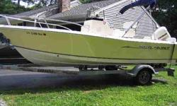 150 horsepower Evinrude, two cycle, Salt water edition, full bolsters and cushions, full bow rails, am/fm/cd system, vhf marine radio, dual batteries, leaning post seat with rocket launchers, bimini top, raw water wash down, live well, life jackets, porta