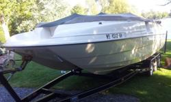 I bought this boat new (2001) and am selling it because of no use (this model came with no engine hour meter). This boat has a lot of room like a pontoon boat and is much more stable in rough waters, because of it's hull design. It comes with the tri-axle