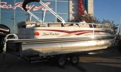 2008 Sun Tracker 22 PARTY BARGE Very nice, slightly used pontoon. This twin toon Sun Tracker is powered with a 90hp Mercury Optimax, and sits on a tandem axle painted trailer. Some of the fun boating equipment includes stereo at helm, aft bimini top,
