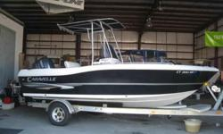 BLACK & WHITE, PRE-TRADE IN. POWERED BY A YAMAHA 150HP 4-STROKE ENGINE, WITH T-TOP, & TRAILER VIN