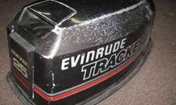This is a pre-owned Hood from an Evinrude 25 Horsepower engine between 1979 and 1989. Shows some wear, has a couple paint chips and a chip out of the fiberglass on 1 corner. Overall, in usable condition though. This is for electric starter models only! It