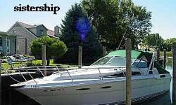 Here is a 1986 Sea Ray Sundancer 300, soft top with fiberglass radar arch with less than 30 hours on new twin Mercruiser 5.7 liter engines with Alpha 1 outdrives located in Norwalk, CT.The Sea Ray 300 Sundancer is perfect for enjoying quality time on the